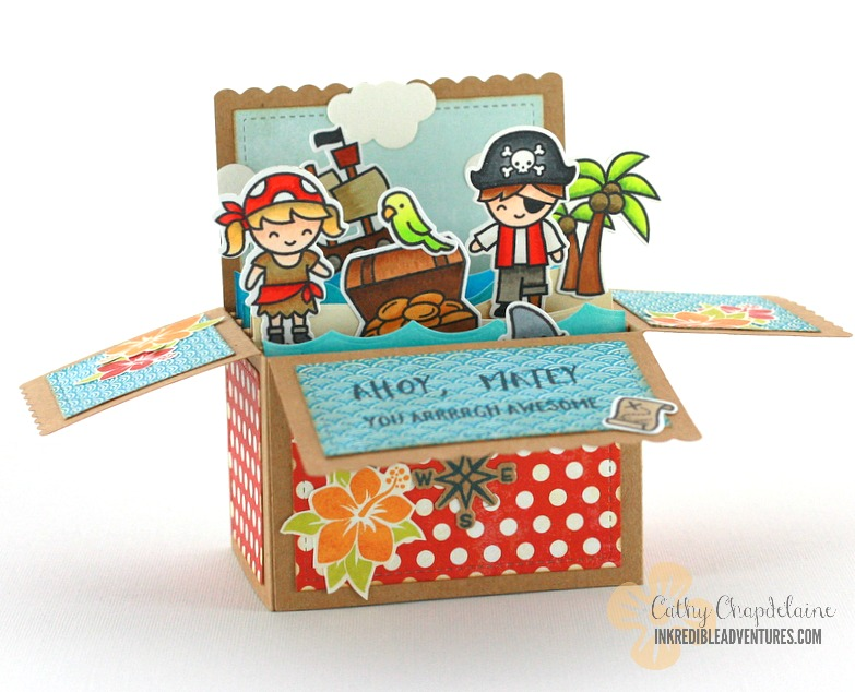 Lawn Fawn Scalloped Pop-up Box card die, Lawn Fawn Ahoy Matey stamp set